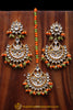 Anikaa Orange & Green Kundan Pearl Earring Tikka Set By Punjabi Traditional Jewellery