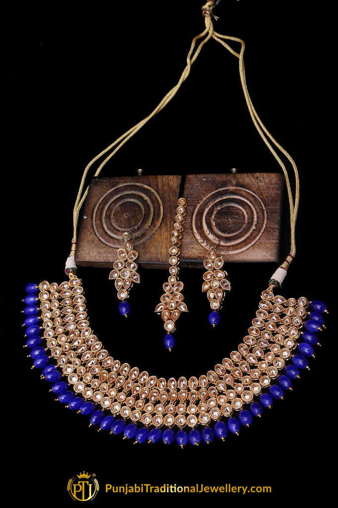 Blue Champagne Stone Necklace Set By Punjabi Traditional Jewellery