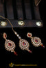 Red Polki Earring Tikka Set By Punjabi Traditional Jewellery
