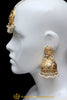 Golden Jadau Jhumki Earrings & Tikka Set By Punjabi Traditional Jewellery