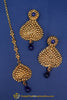Blue Antique Gold Earring Tikka Set By Punjabi Traditional Jewellery