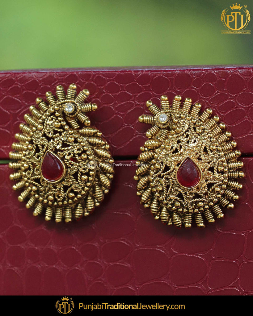 Antique Gold Finished Rubby Stone Earrings By Punjabi Traditional Jewellery