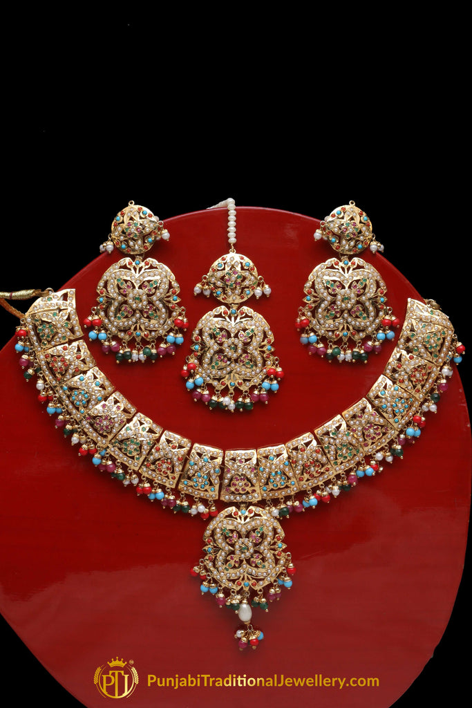 Multi Jadau Pearl Necklace Set By Punjabi Traditional Jewellery