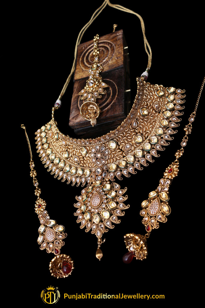 Antique Gold Choker Kundan Rubby Necklace With Sahare Earrings By Punjabi Traditional Jewellery