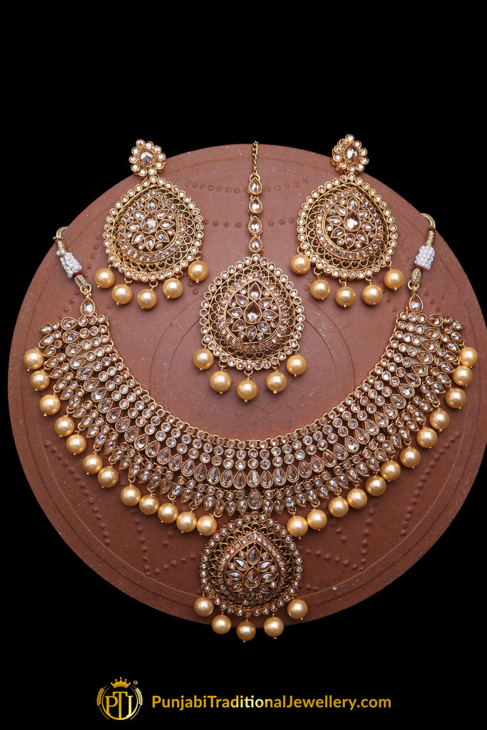 Pearl Polki Necklace Set By Punjabi Traditional Jewellery