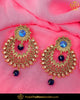 Antique Gold Finished Chamapgne Stone Blue Earrings | Punjabi Traditional Jewellery Exclusive