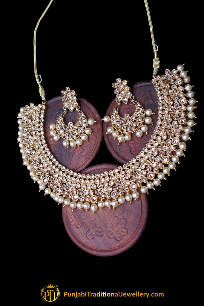 Golden Polki Pearl Necklace Set By Punjabi Traditional Jewellery