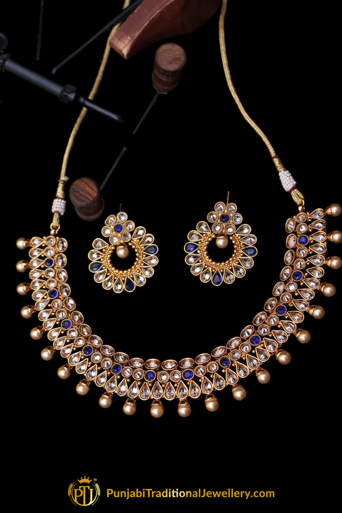 Blue Polki Necklace Set By Punjabi Traditional Jewellery