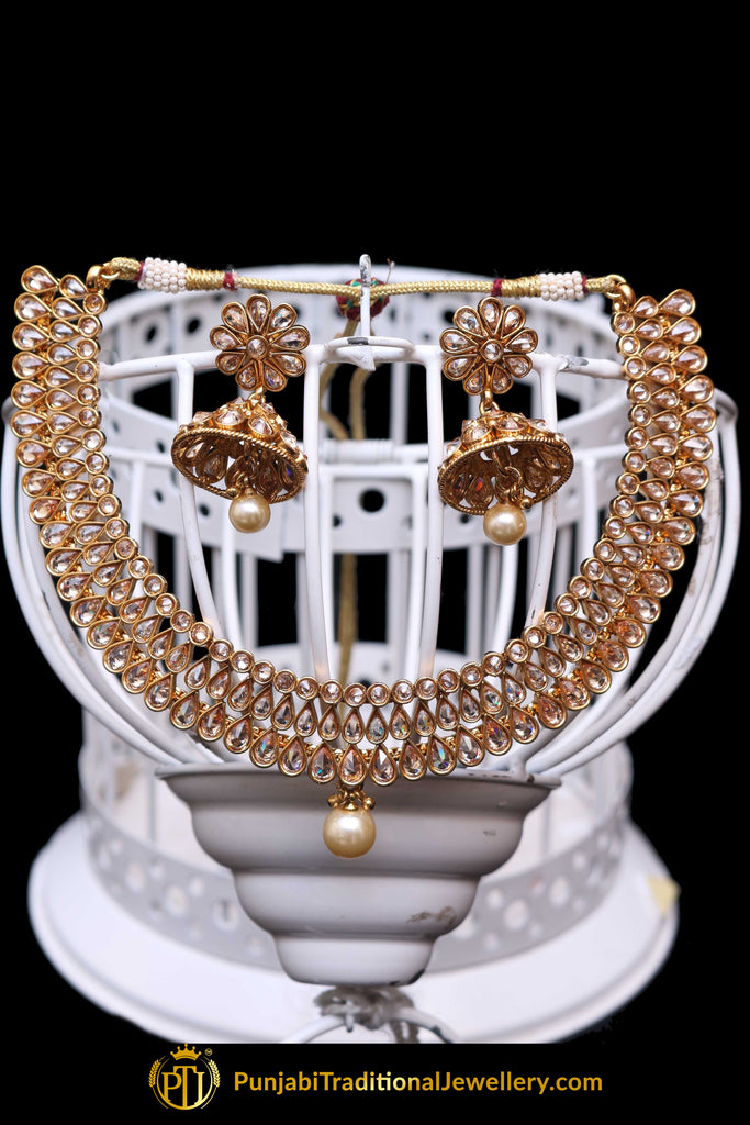 Golden Polki Necklace Set By Punjabi Traditional Jewellery
