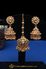 Golden Antique Stone Earring Tikka Set By Punjabi Traditional Jewellery