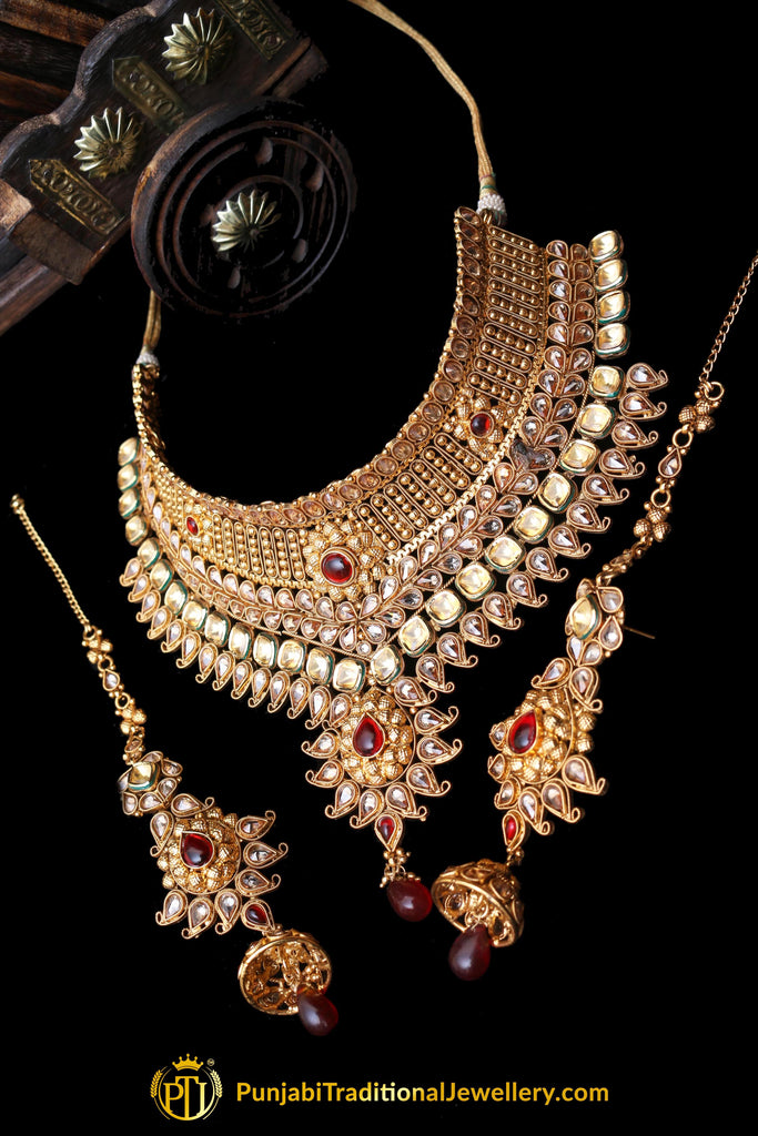 Antique Gold Red Polki Choker Necklace Set By Punjabi Traditional Jewellery