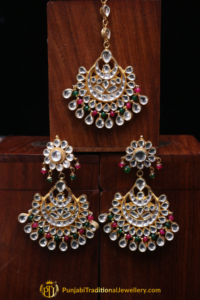 Pink Green Kundan Pearl Earring Tikka Set By Punjabi Traditional Jewellery