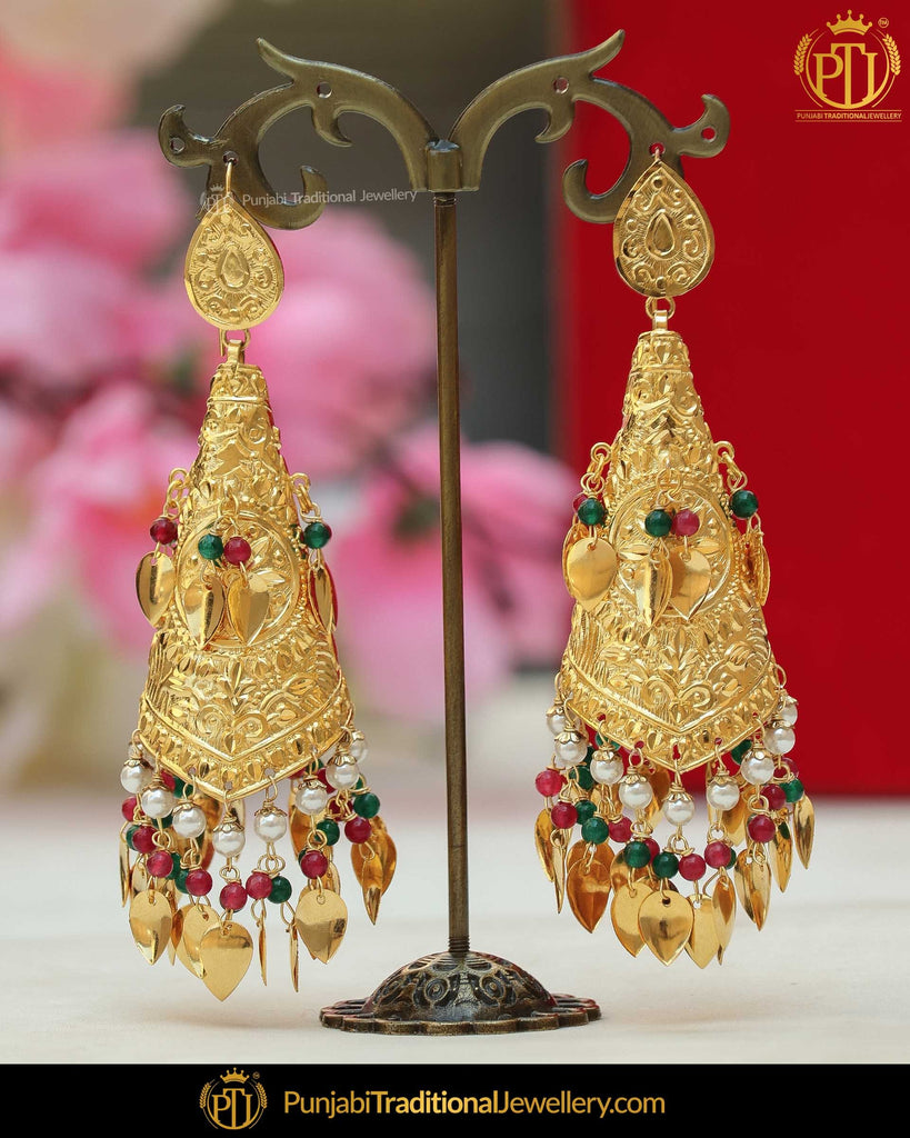 Gold Finished Pippal Patti jhumki Rubby Emerald Earrings | Punjabi Traditional Jewellery Exclusive