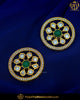 Emerald Kundan Stud Earrings | Punjabi Traditional Jewellery Exclusive