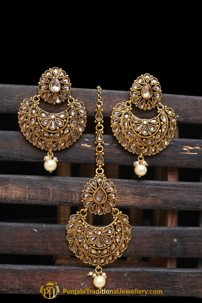 Champagne Stone Pearl Earring Tikka Set By Punjabi Traditional Jewellery