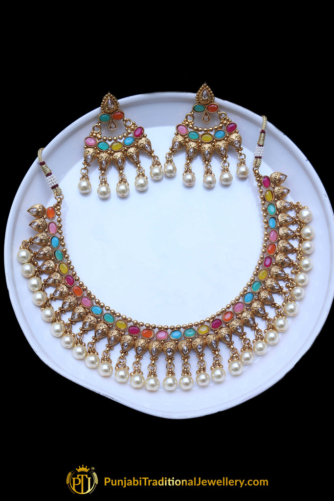 Multi White Pearl Polki Necklace Set By Punjabi Taditional Jewellery