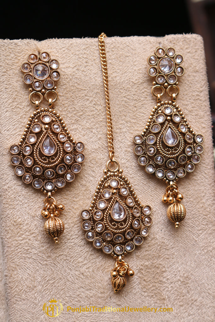 Golden Polki Earring Tikka Set By Punjabi Traditional Jewellery