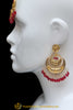 Red Gold Plated Earring Tikka Set By Punjabi Traditional Jewellery
