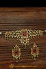 Matt Gold Green Red Polki Choker Necklace Set | Punjabi Traditional Jewellery Exclusive