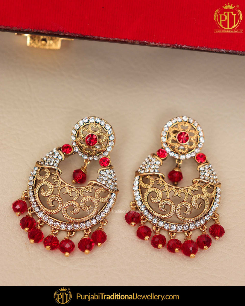 Gold Finished Rubby Jerkan Earrings | Punjabi Traditional Jewellery Exclusive