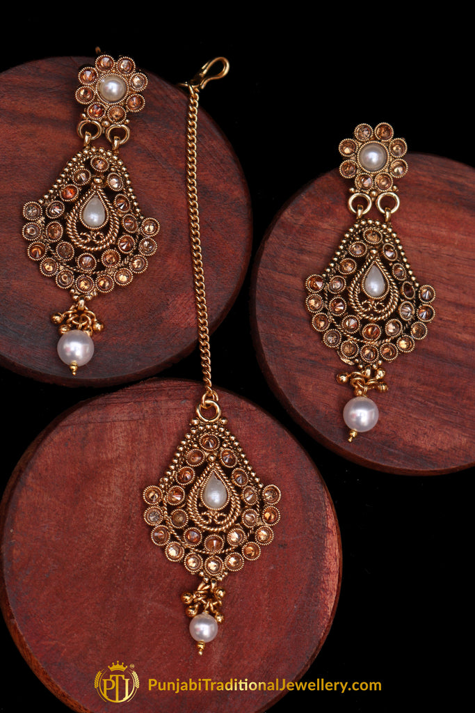 Champagne Stone  Pearl Antique Gold Earring Tikka Set By Punjabi Traditional Jewellery