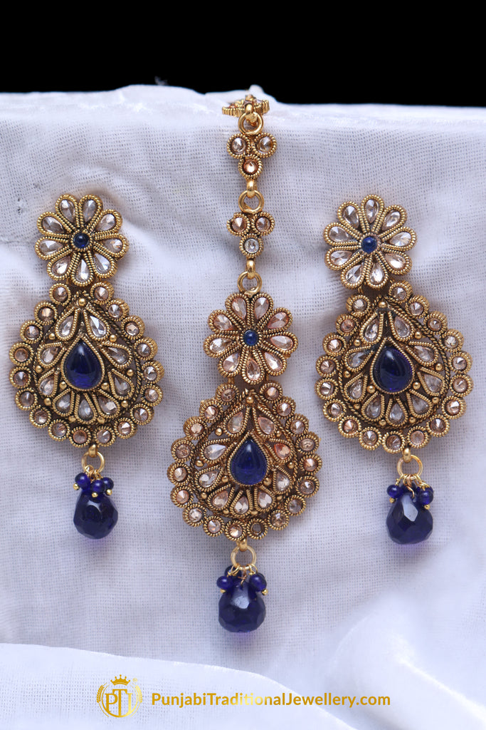 Blue Polki Earring Tikka Set By Punjabi Traditional Jewellery