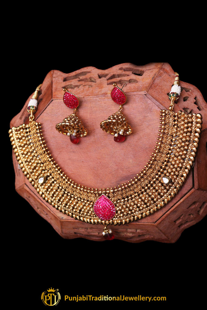 Maroon Antique Gold Pearl Choker Necklace Set By Punjabi Traditional Jewellery