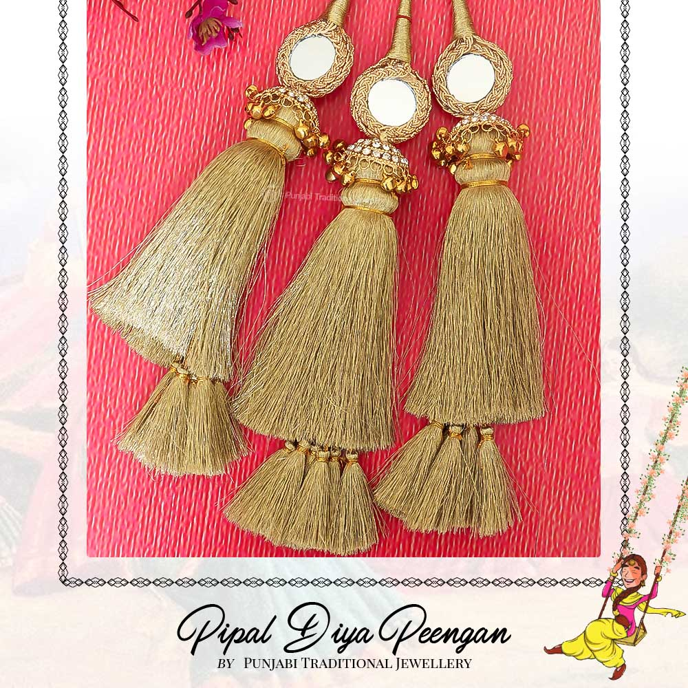 Golden Color Prandi Lottan With Mirror | Pipal Diya Peengan by Punjabi Traditional Jewellery Exclusive