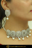 Ghadah Silver Pearl American diamond Choker Set & Earrings | Punjabi Traditional Jewellery Exclusive