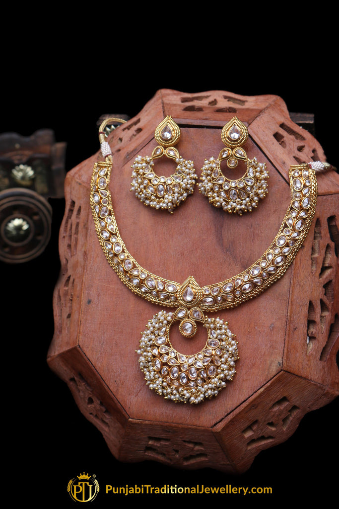 Champagne Stone Necklace Set By Punjabi Traditional Jewellery
