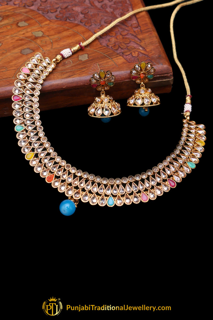 Multi Polki Necklace Set By Punjabi Traditional Jewellery