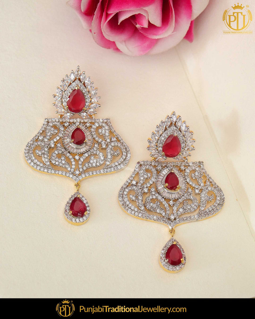 Gold Finished Rubby Amrican Diamond Earrings | Punjabi Traditional Jewellery Exclusive