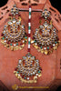 Maroon Kundan Pippal Patti Earring Tikka Set By Punjabi Traditional Jewellery