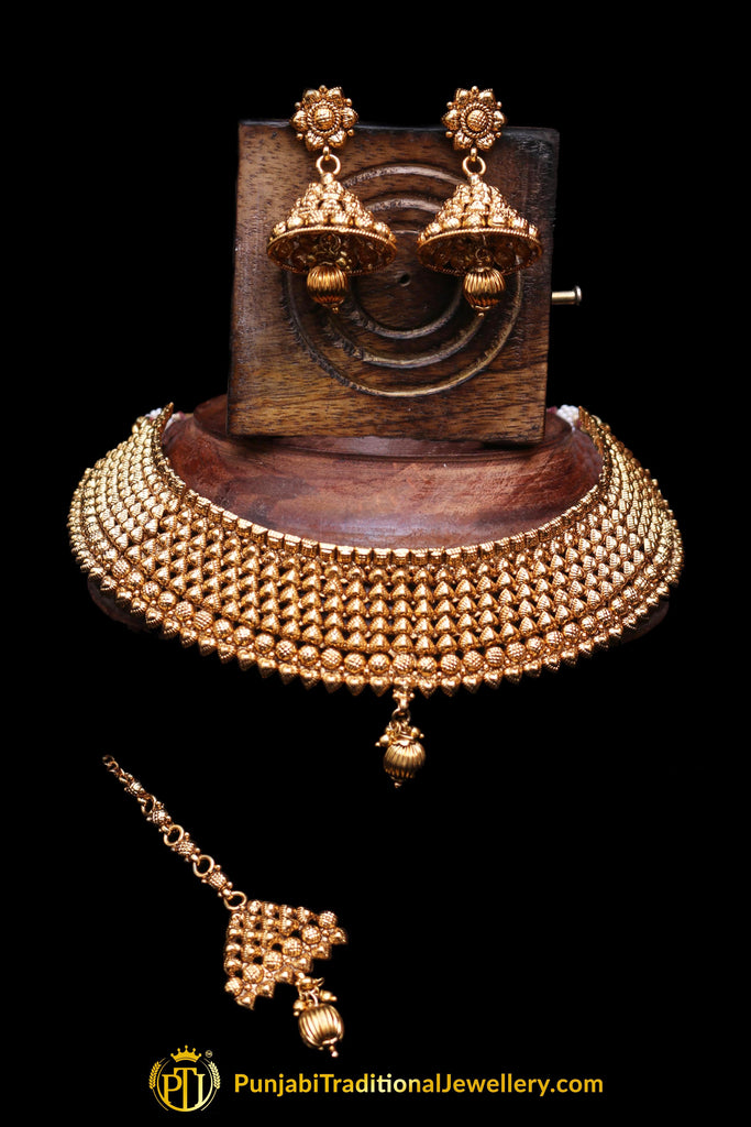Antique Gold Pearl Choker Necklace Set By Punjabi Traditional Jewellery
