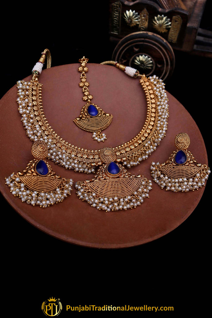 Blue Antique Gold Pearl Necklace Set By Punjabi Traditional Jewellery