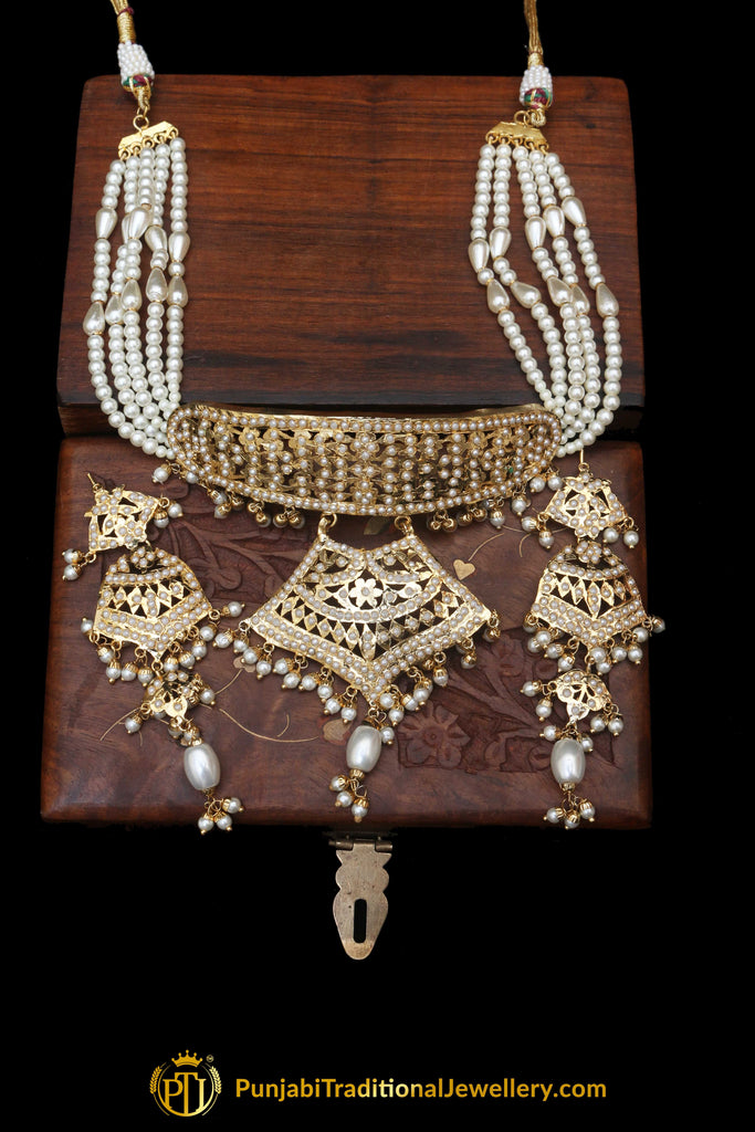 Jadau White Pearl  Mala Necklace Set By Punjabi Traditional Jewellery