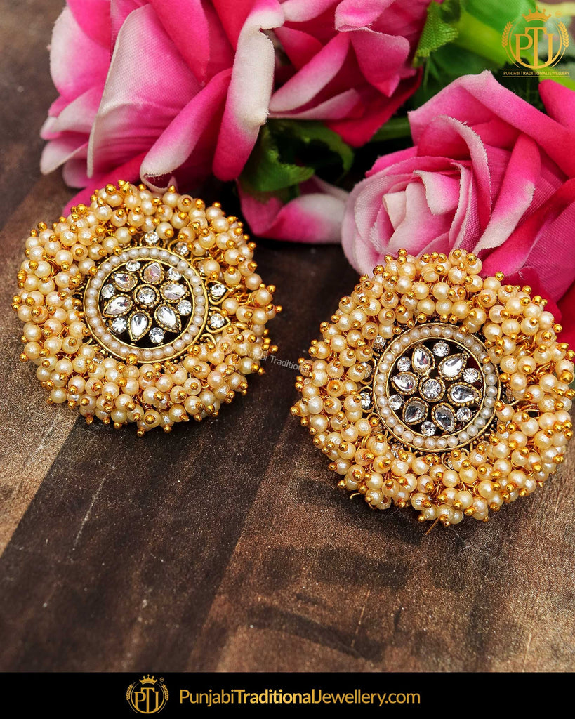 Gold Finished Pearl Kundan Stud Earrings | Punjabi Traditional Jewellery Exclusive