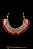 Red Champagne Stone Necklace Set By Punjabi Taditional Jewellery