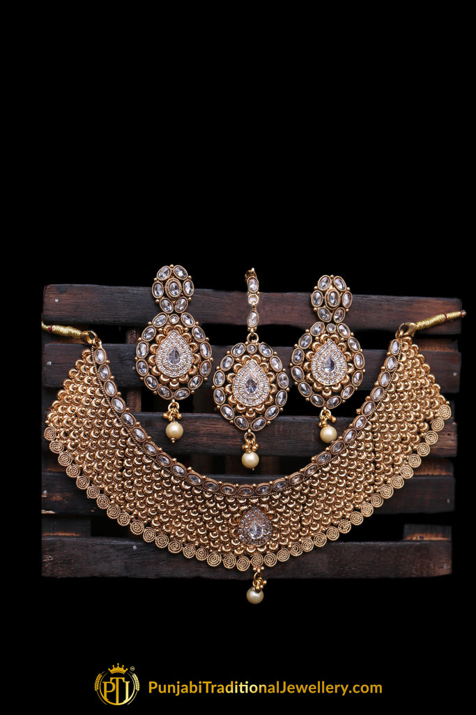 Choker Antique Gold Pearl Choker Necklace Set By Punjabi Traditional Jewellery