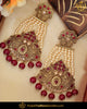 Gold Finished Champagne Stone Rubby  Pearl Earrings | Punjabi Traditional Jewellery Exclusive
