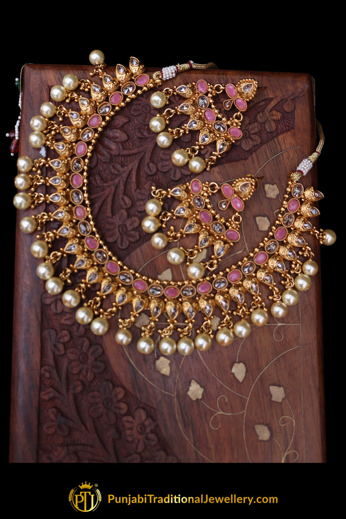 Pink White Pearl Polki Necklace Set By Punjabi Taditional Jewellery