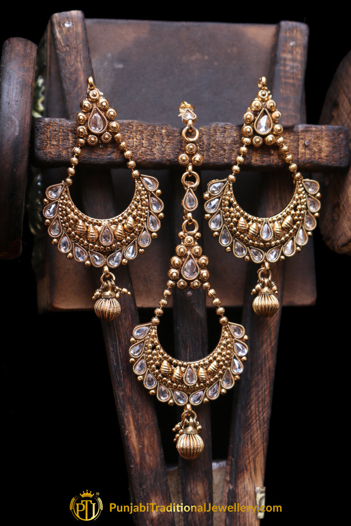 Polki Earring Tikka Set By Punjabi Traditional Jewellery