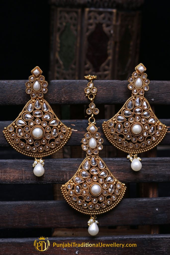 White Pearl Polki Earring Tikka Set By Punjabi Traditional Jewellery
