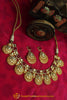 Red Kundan Antique Matt Gold Necklace Set By Punjabi Taditional Jewellery