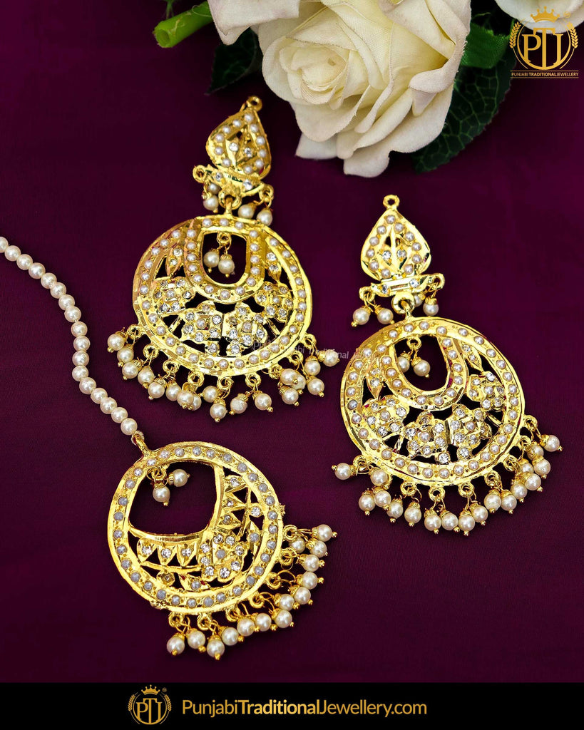 Gold Finished Jadau Pearl Earring Tikka Set | Punjabi Traditional Jewellery Exclusive