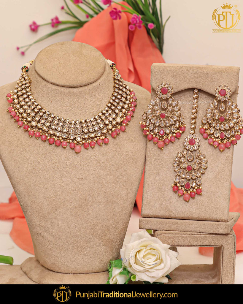 Gold Finished Champagne Stone Peach Pearl Necklace Set | Punjabi Traditional Jewellery Exclusive