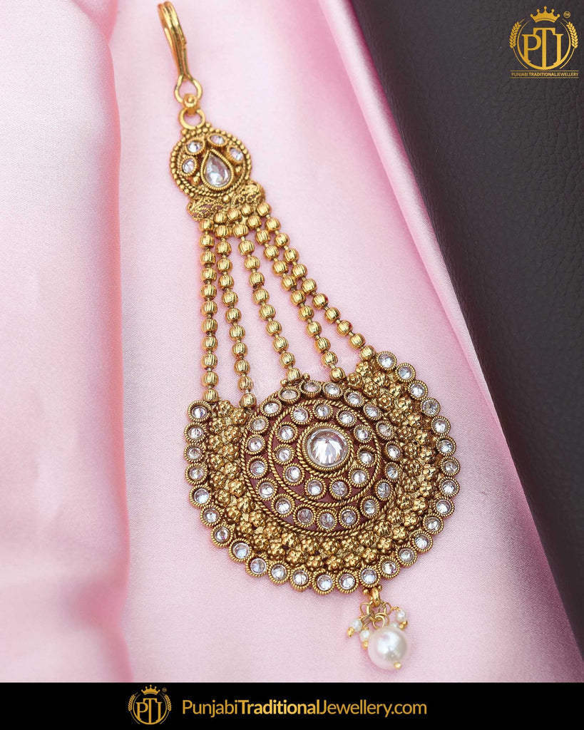 Gold Finished Pearl Champagne Stone Passa | Punjabi Traditional Jewellery Exclusive