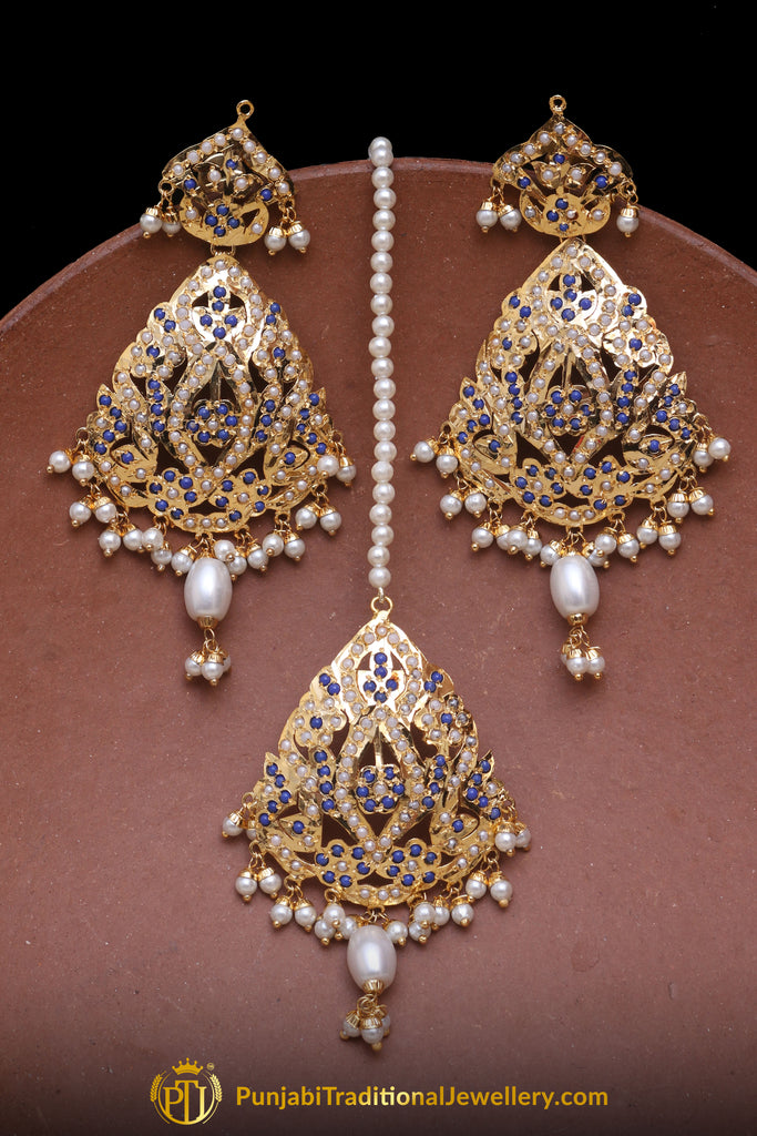 Blue Jadau Pearl Earring Tikka Set By Punjabi Traditional Jewellery