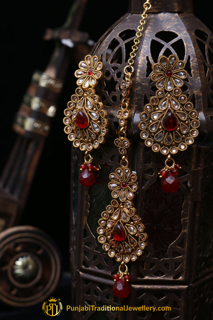 Red Champagne Stone Earring Tikka Set By Punjabi Traditional Jewellery