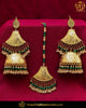 Antique Gold Finished Emerald Pearl Earring Tikka Set | Punjabi Traditional Jewellery Exclusive